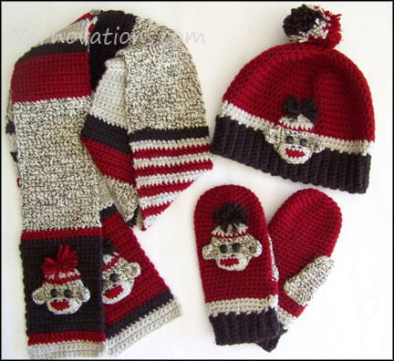 Sock Monkey Winter Accessories