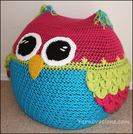 Crochet Bean Bag Tutorial : Owl Bean Bag Chair